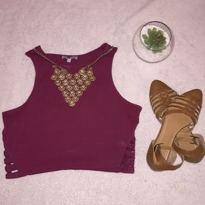 Maroon crop top with side cutout